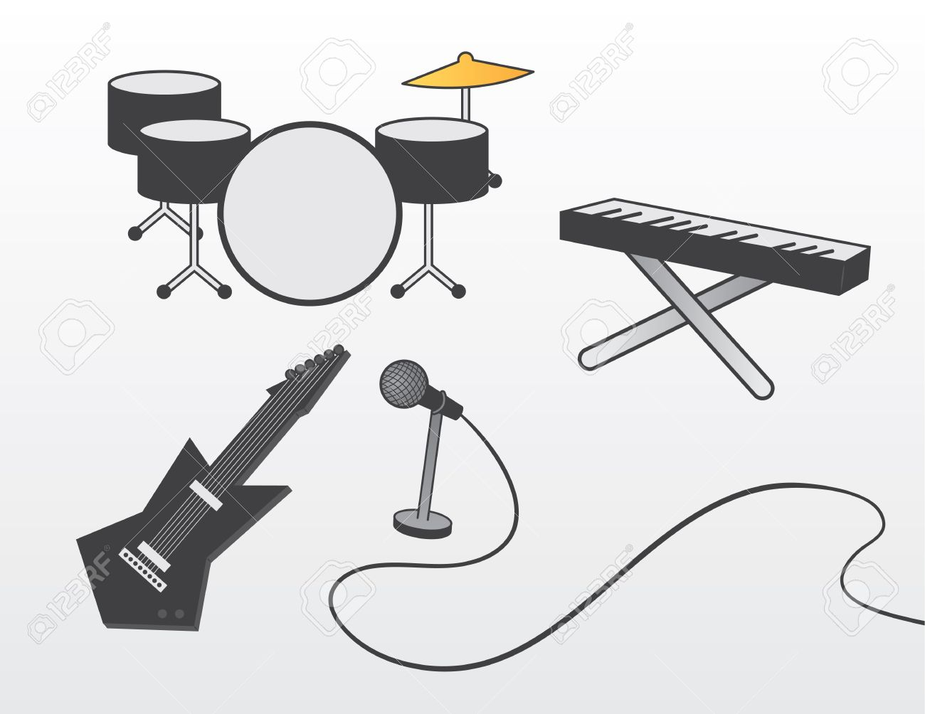 Various band instruments including guitar, drum set, piano and