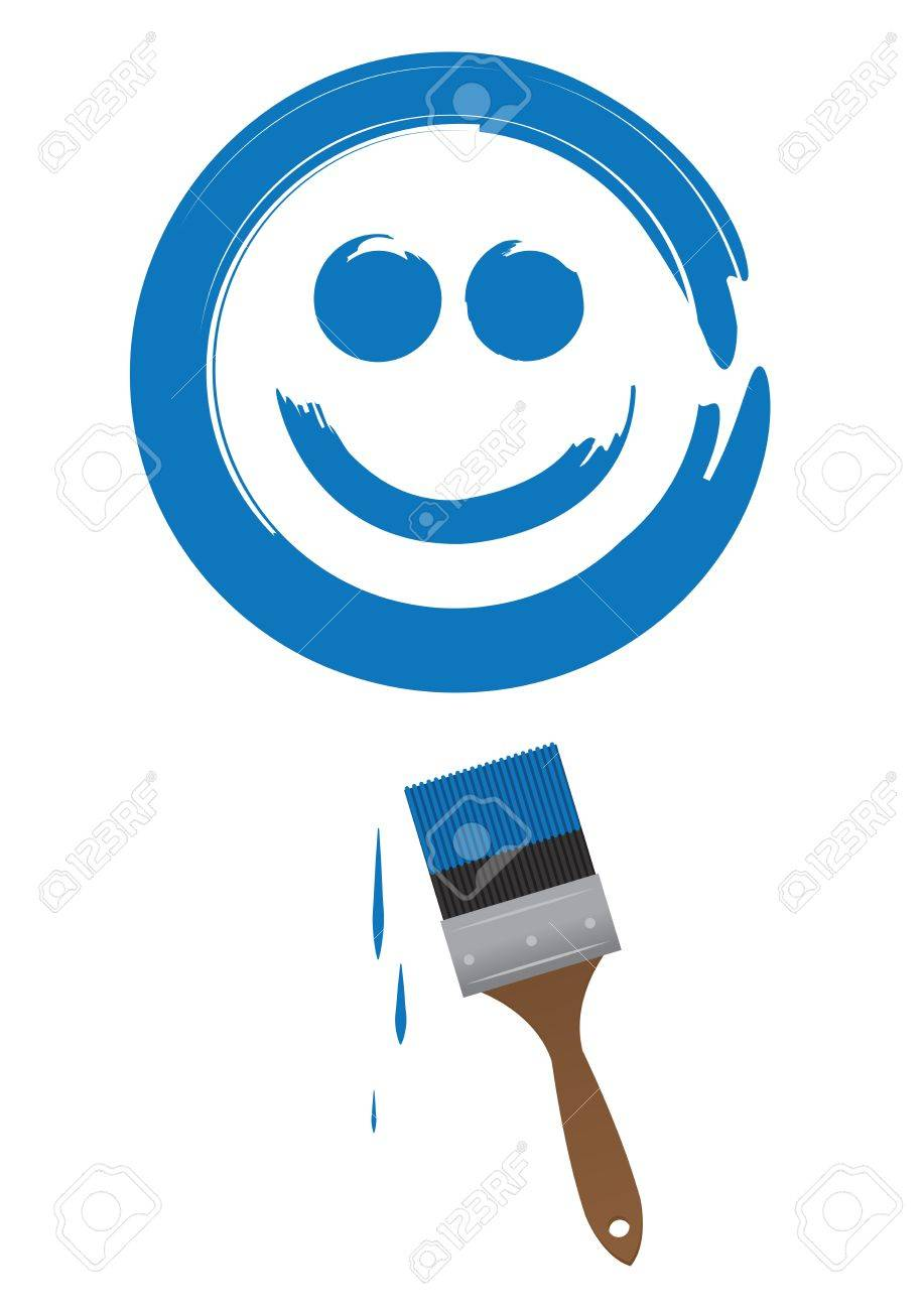 pincel pintando. pincel pintando una gran cara sonriente azul foto de archivo - 18982980 p