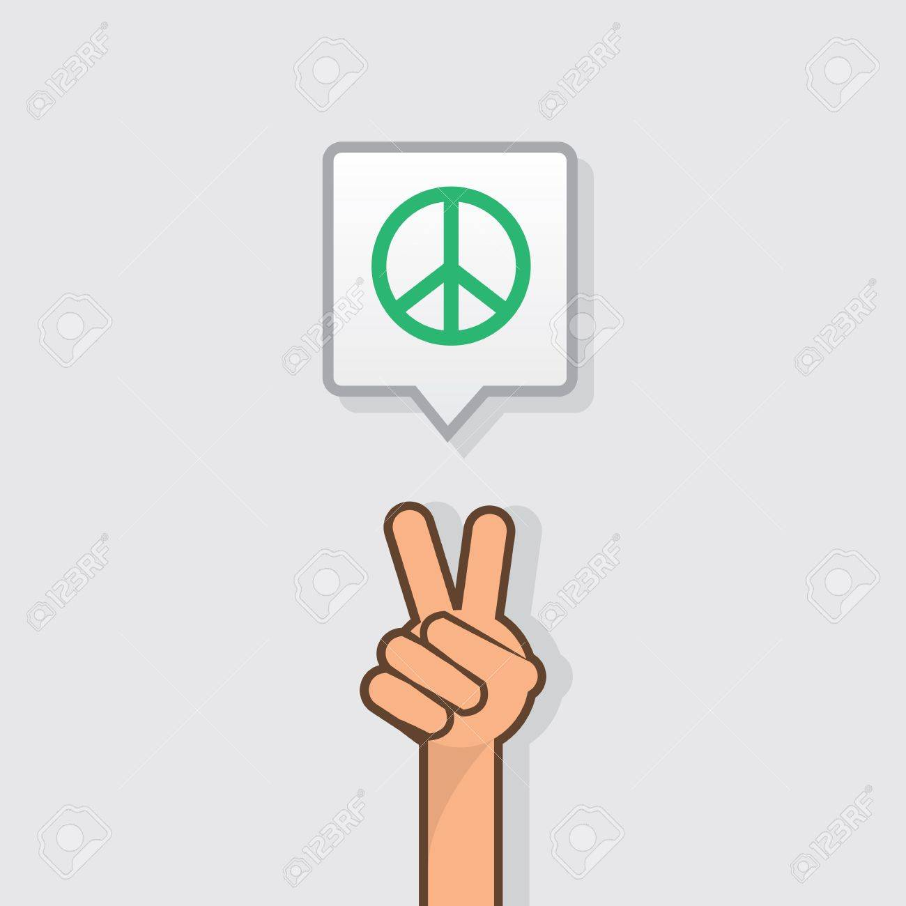 Hand making peace sign with peace symbol Stock Vector - 19277266