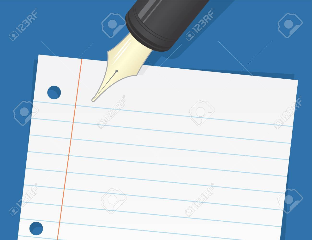 Lined paper with large pen about to write Stock Vector - 19375510