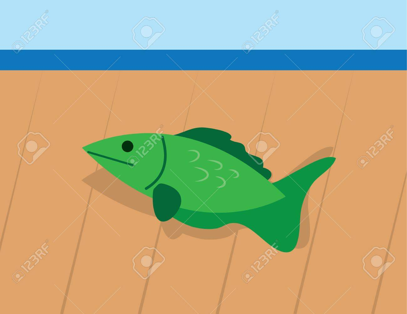 Fish on wooden deck out of water Stock Vector - 19420247