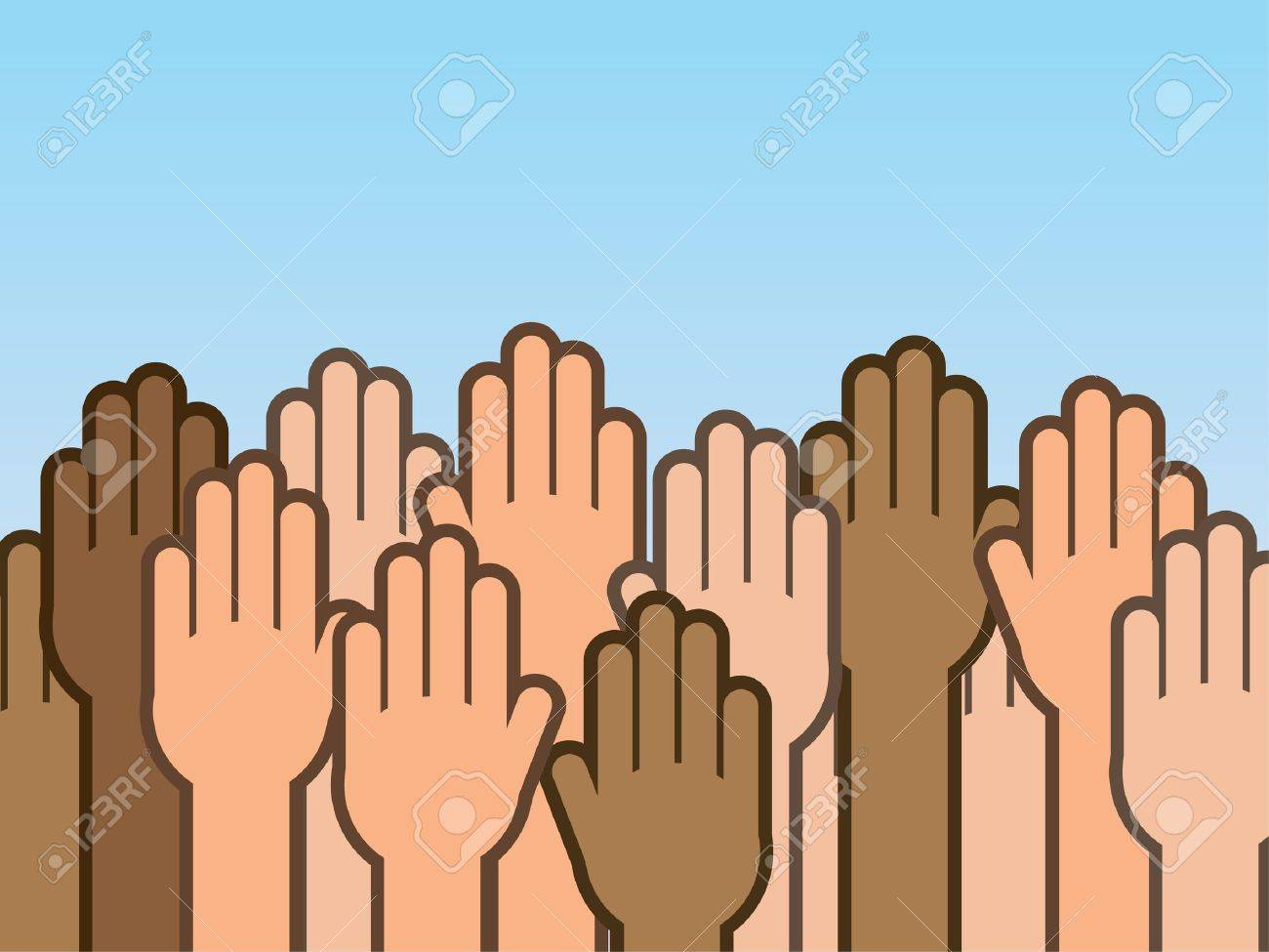 Many hands raised up into the air Stock Vector - 19731909