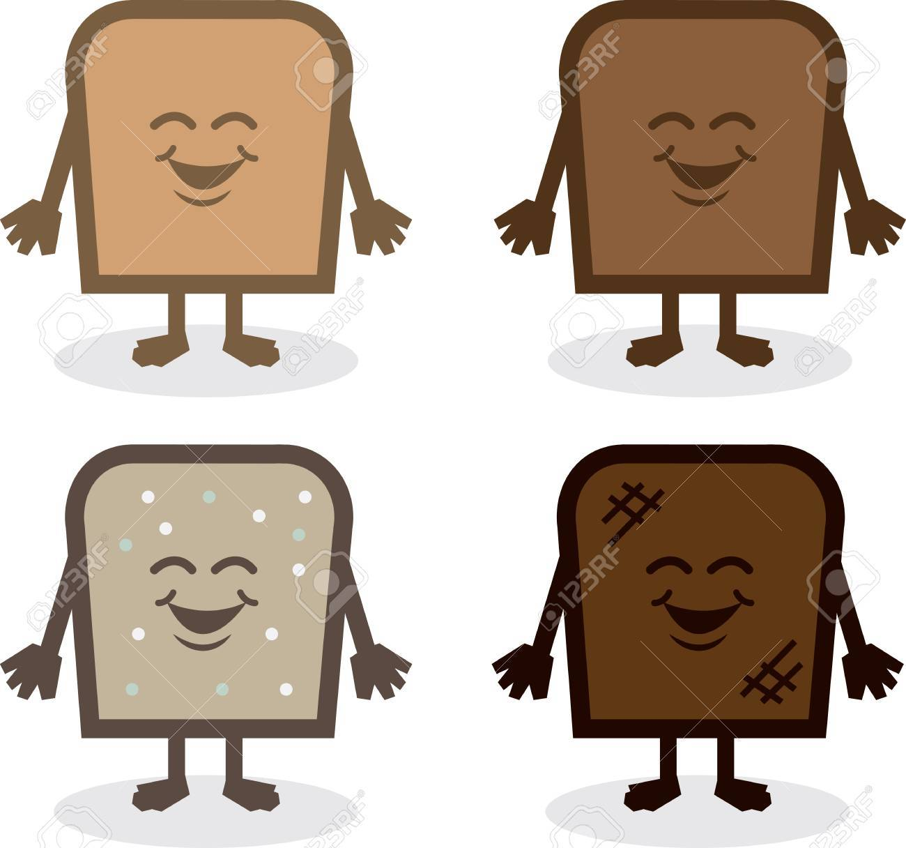 Various bread characters. White, wheat, seed and toasted. Stock Vector - 20140543