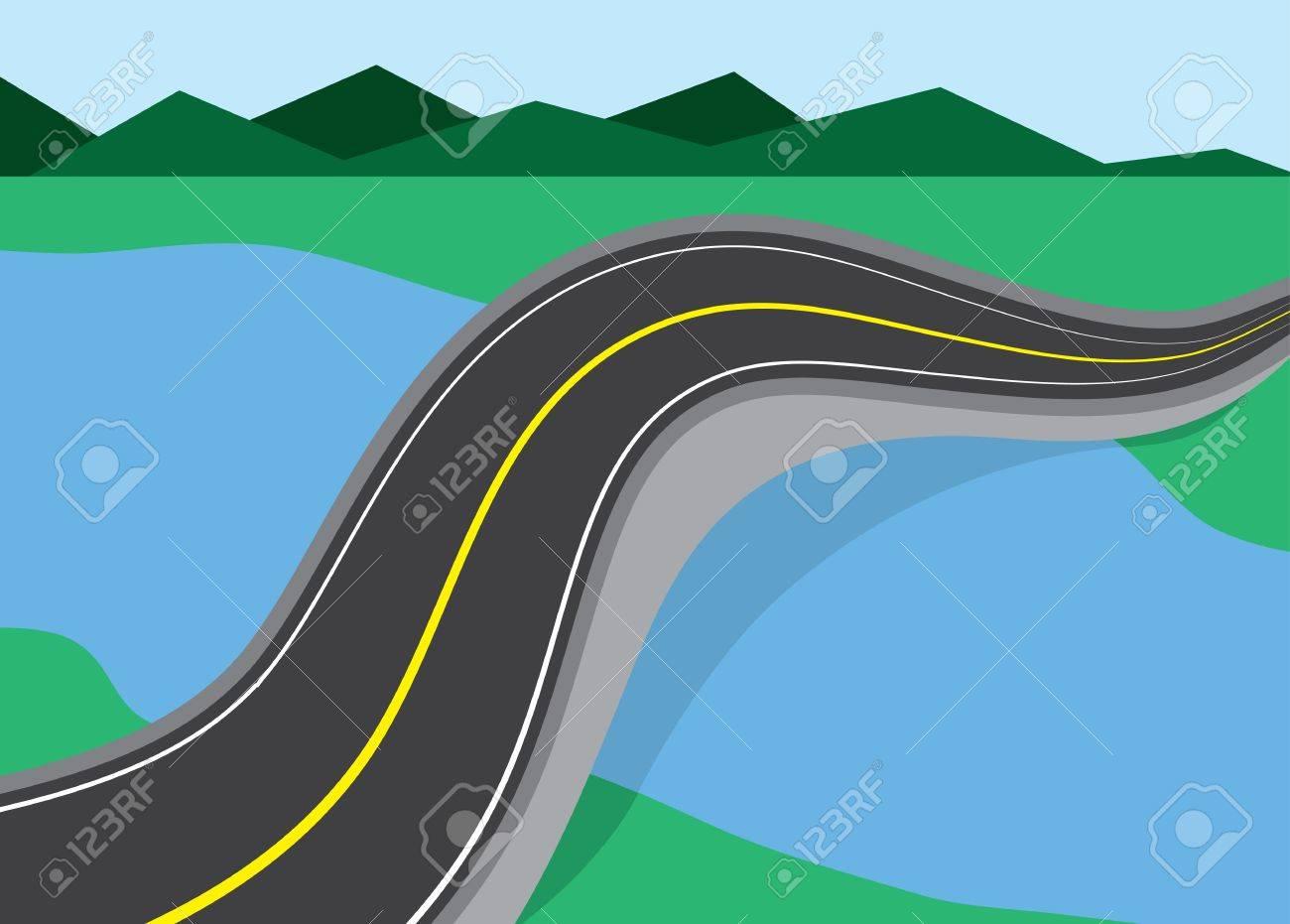 Long road bridged over river Stock Vector - 20140564