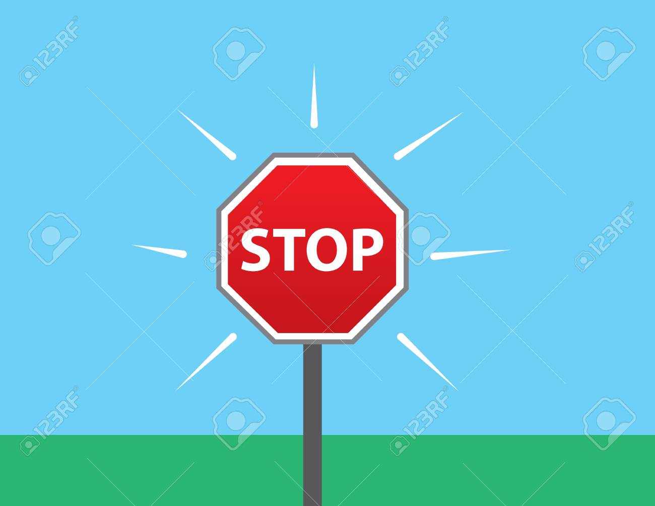 Stop sign outside in the grass Stock Vector - 20335423