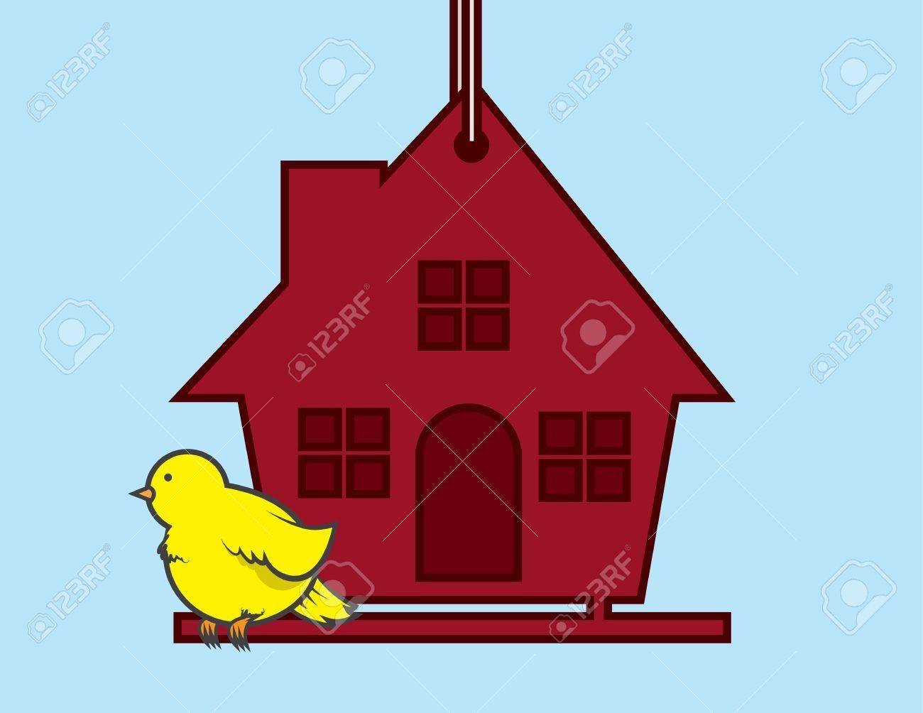 Bird sitting on a red birdhouse Stock Vector - 20335404