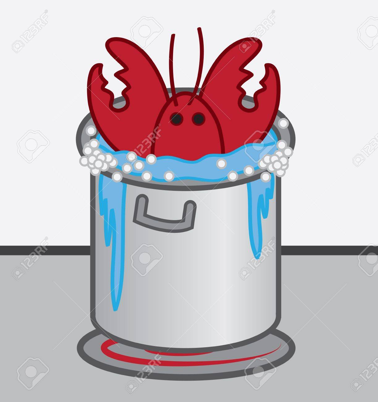 lobster cooked in boiling pot of water royalty free cliparts rh 123rf com Lobster Pot Illustration Lobster Buoy Shape Clip Art