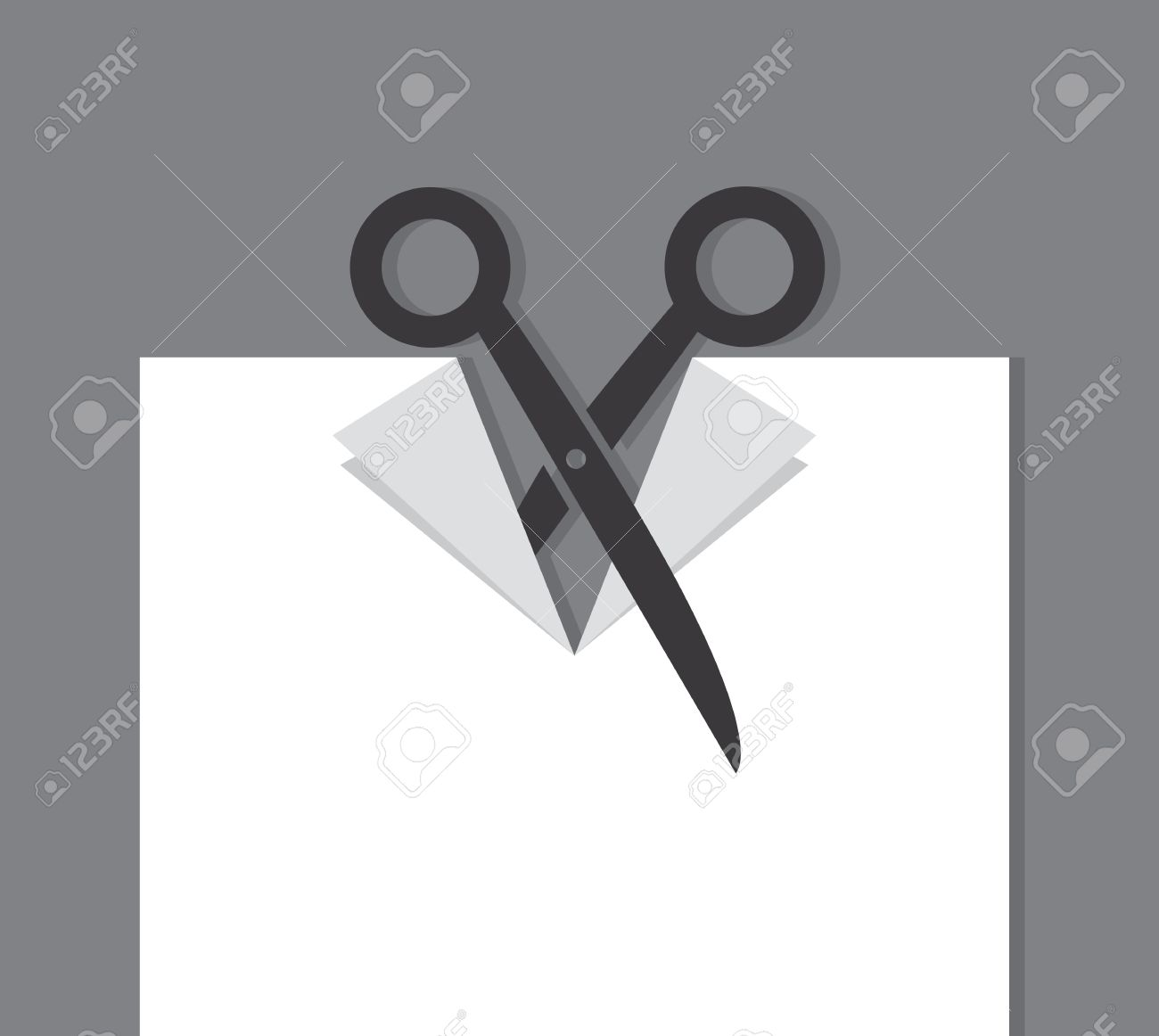 Scissors cutting through a piece of paper Stock Vector - 20763507