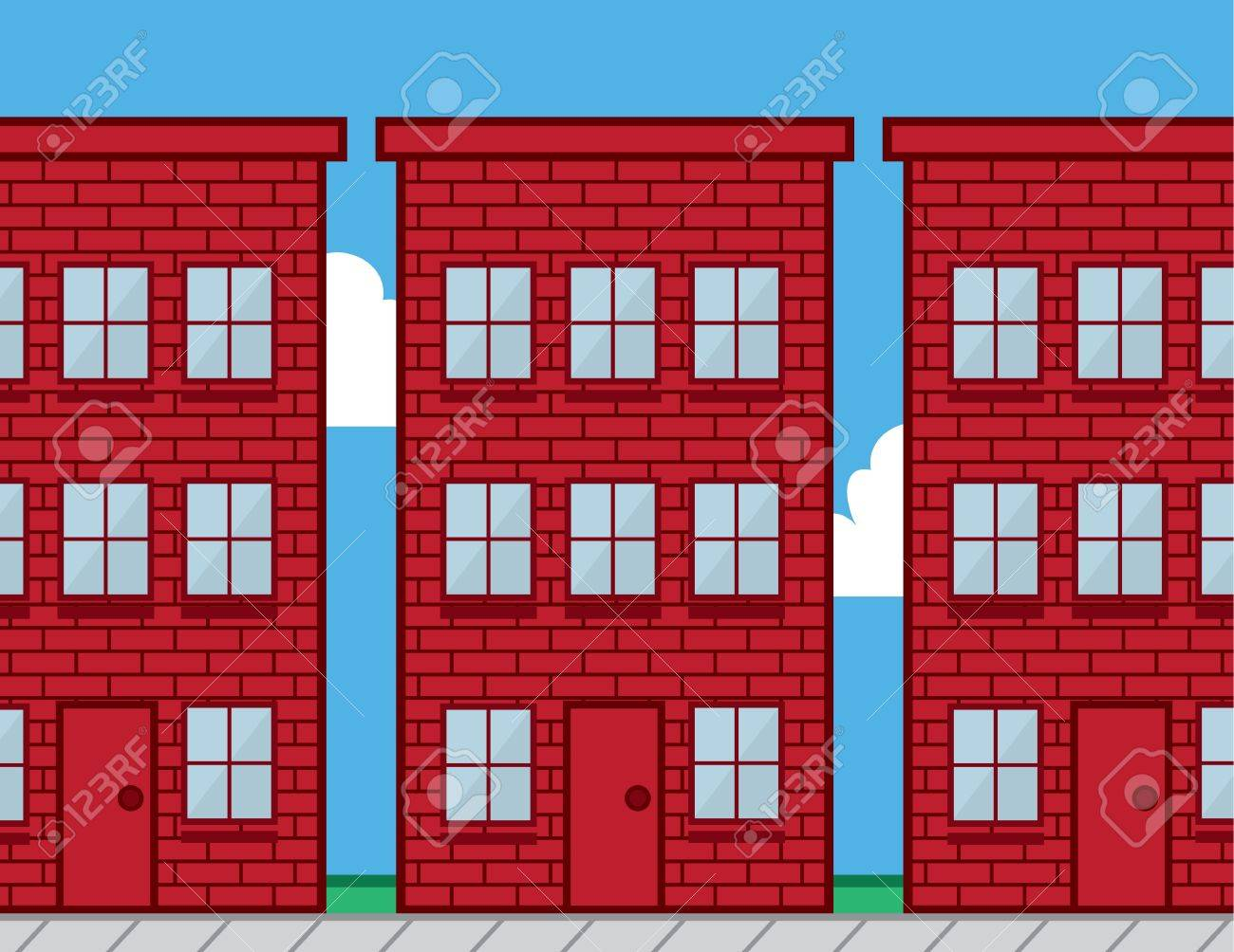 Red Brick Buildings With Sidewalk Stock Vector