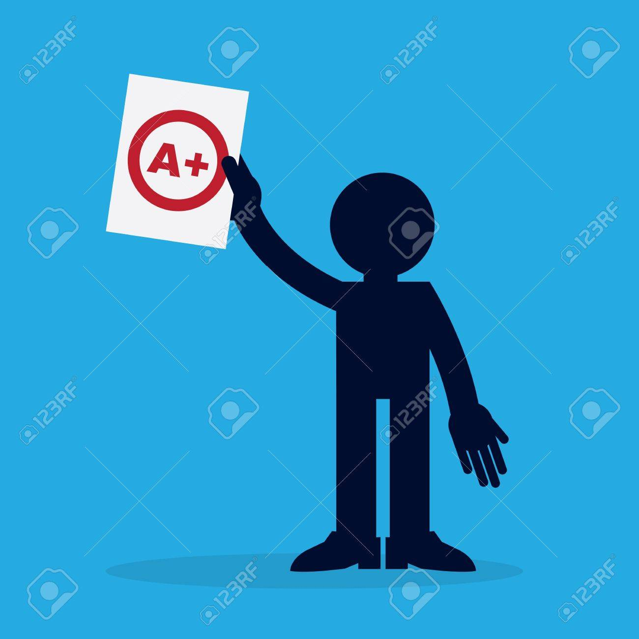 Silhouette figure holding up a piece of paper with an A plus grade Stock Vector - 21479518