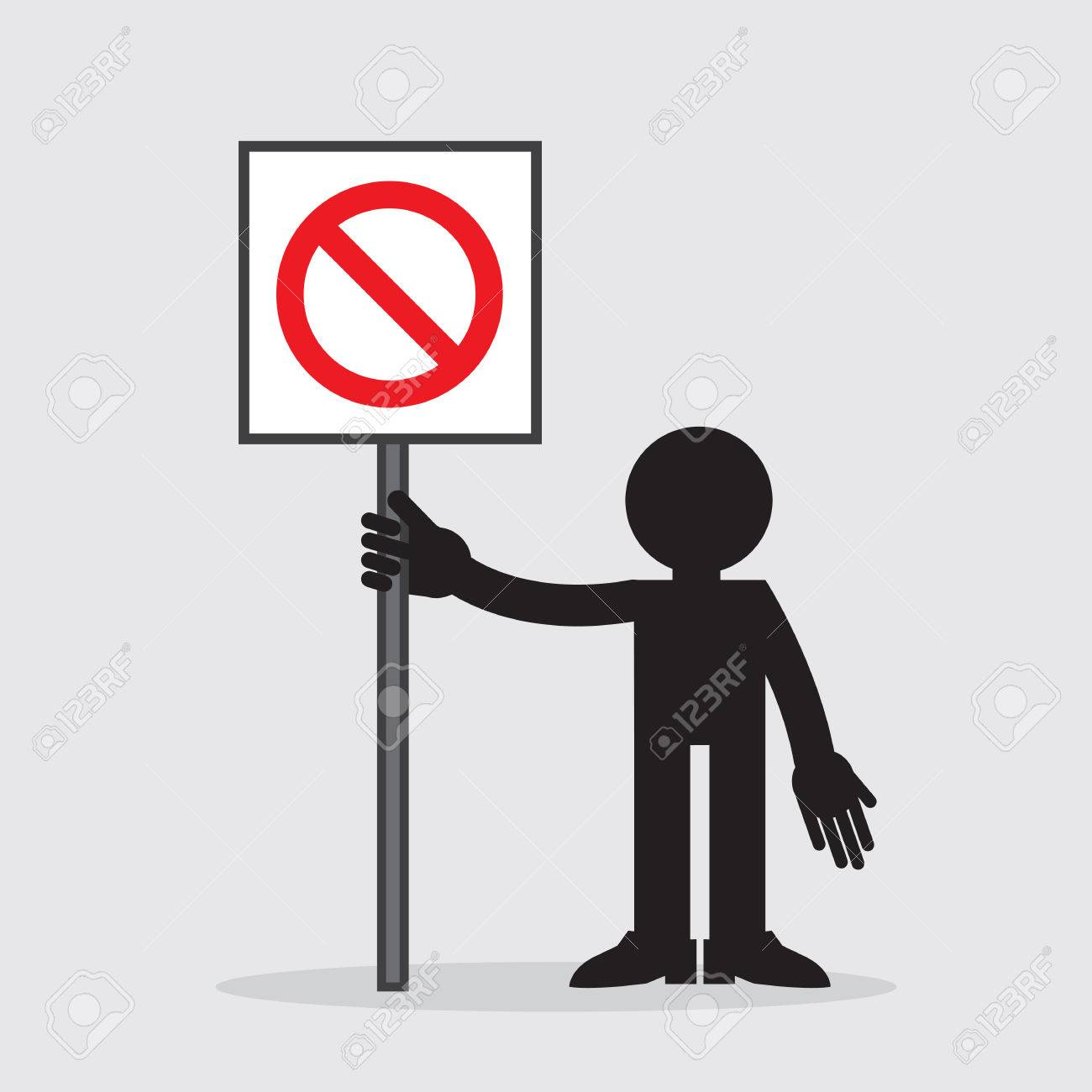 Silhouette figure holding sign with cross out symbol Stock Vector - 23010589