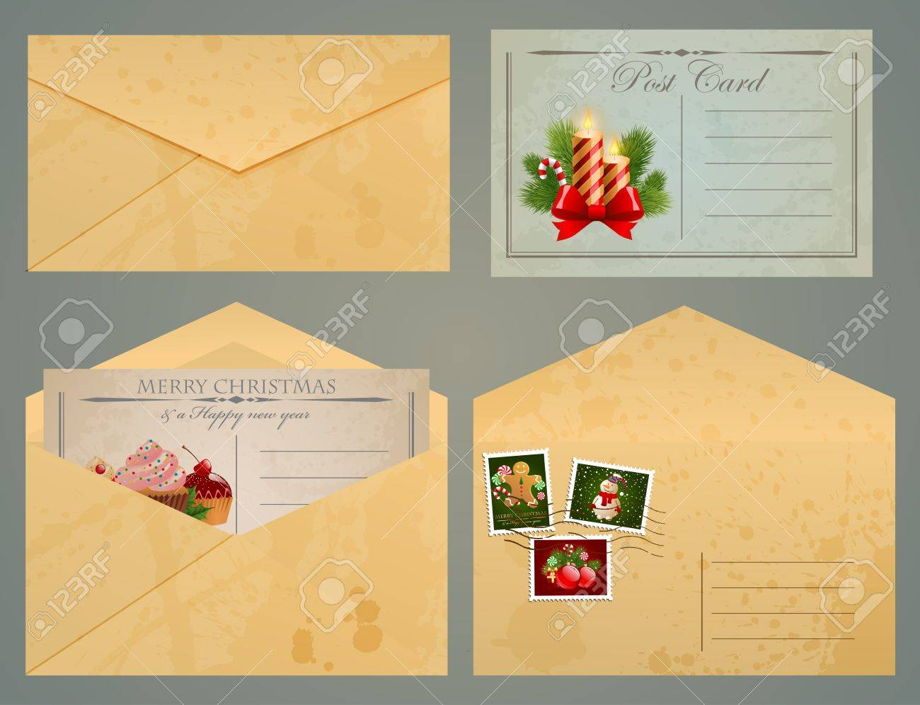 Christmas vintage postcards and envelopes with stamps. Stock Vector - 11656466