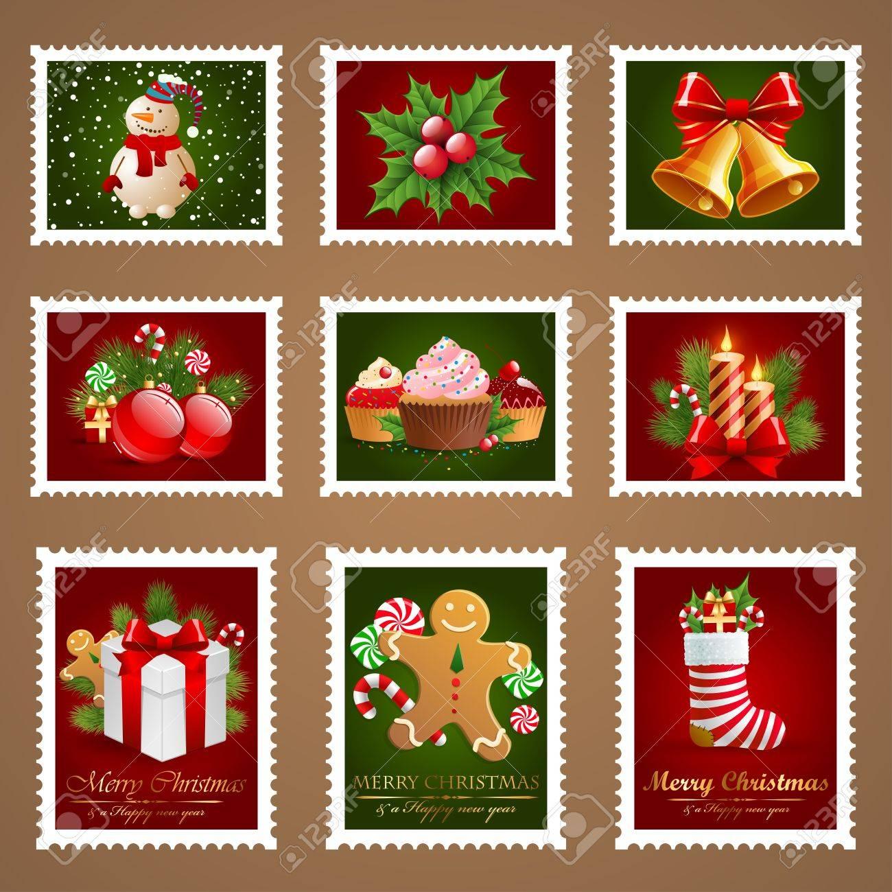 Christmas postage set. Stock Vector - 11656469