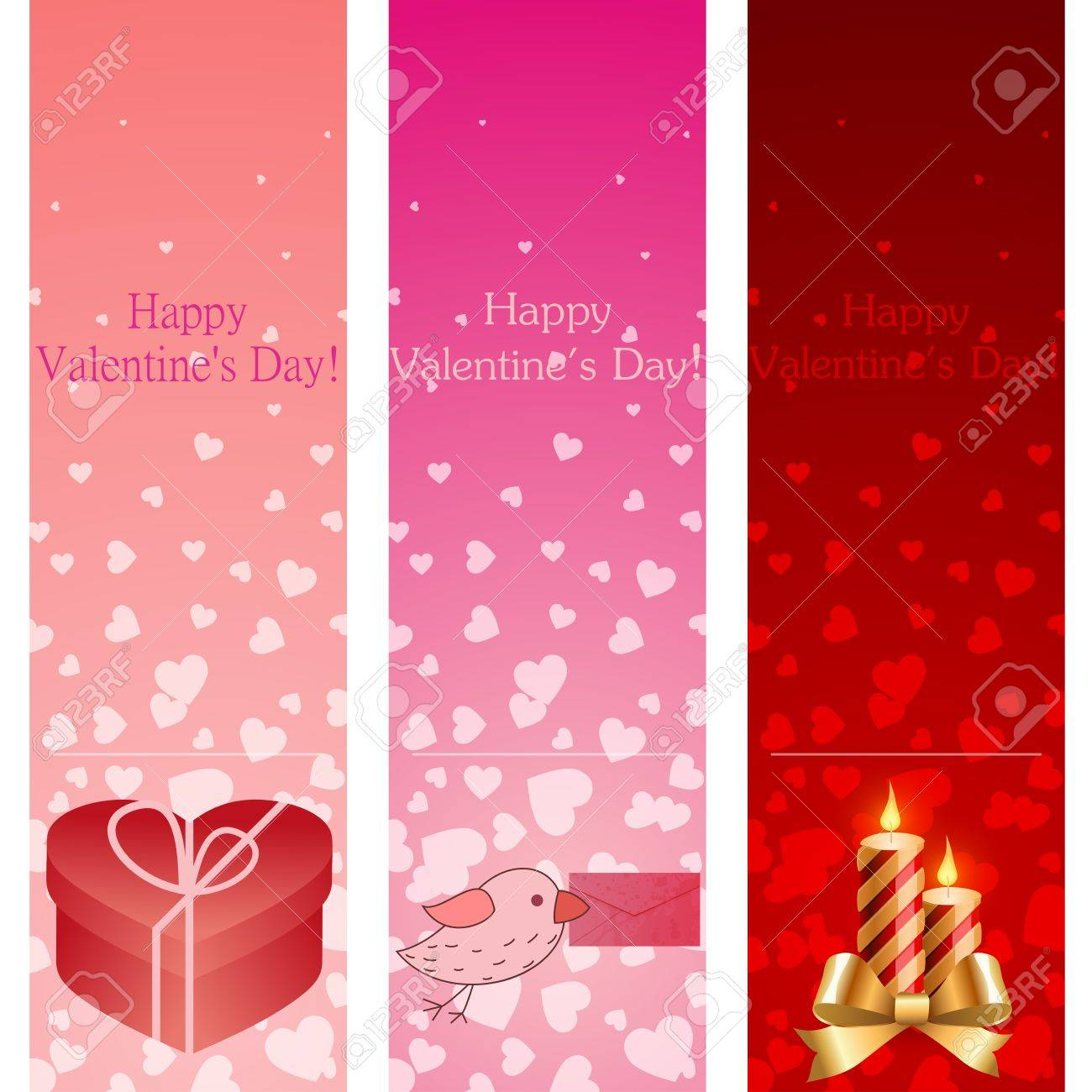 Valentine's day pink vertical banners illustration. Stock Vector - 12349041