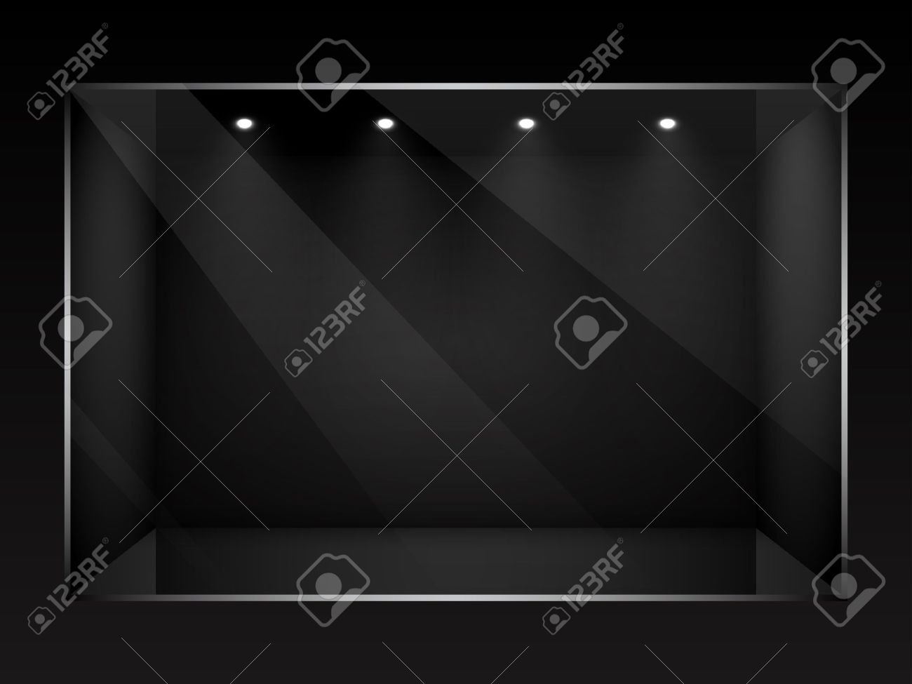 Dark empty show window of shop illustration. Stock Vector - 12839392