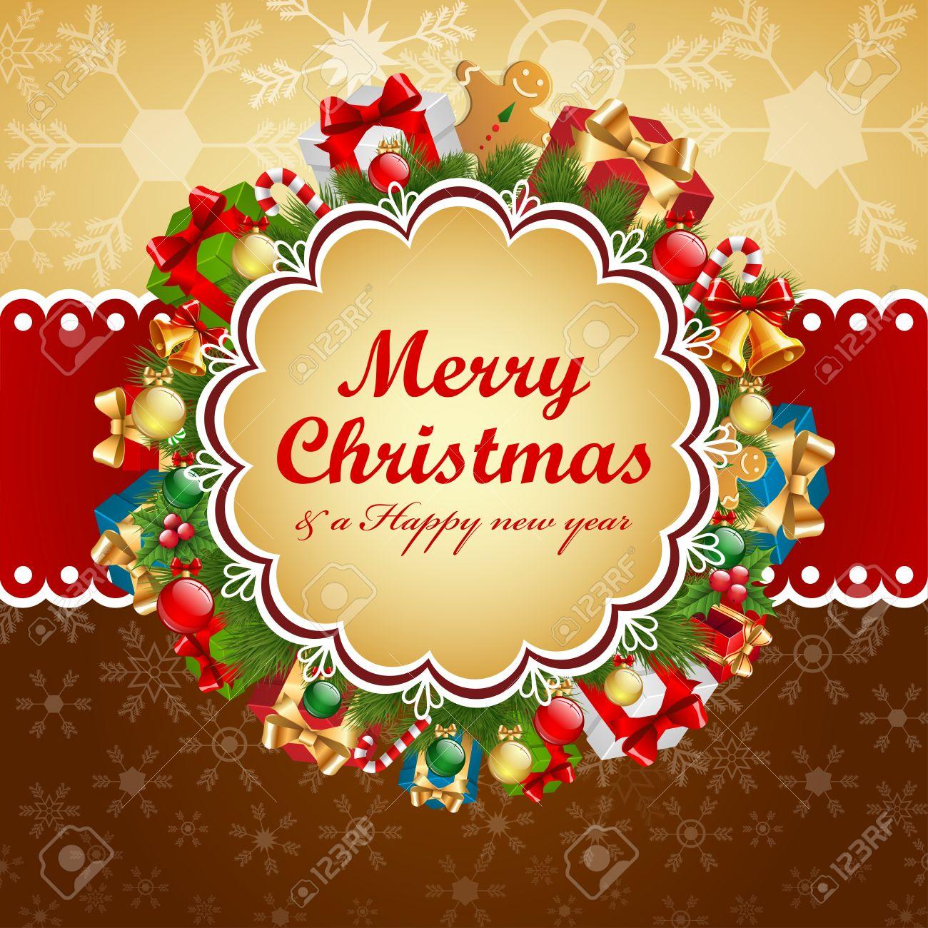 Christmas vintage card Stock Vector - 15789237