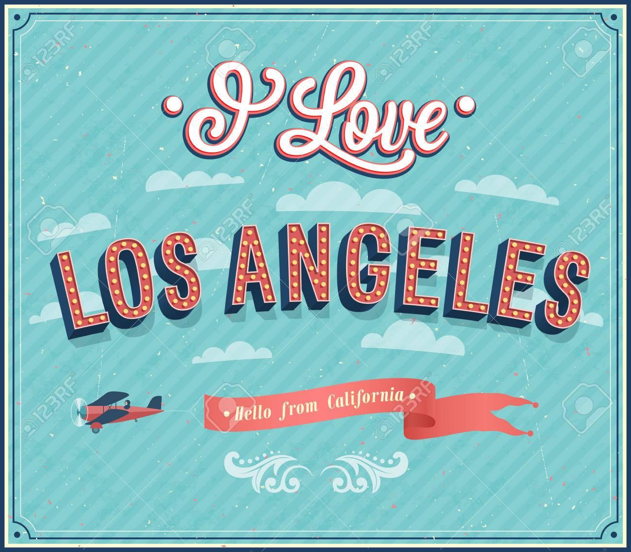Vintage Greeting Card From Los Angeles California Vector - Los angeles posters vintage