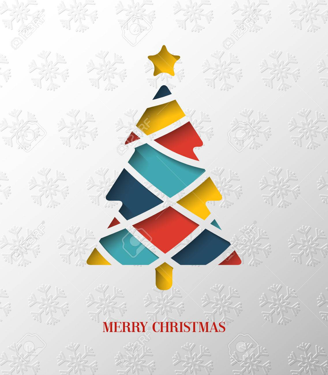 Colorful Christmas Tree Vector.Paper Colorful Christmas Tree Vector Illustration