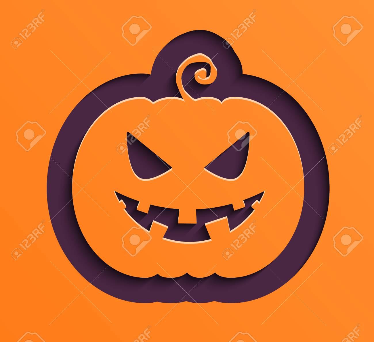 Feliz Calabaza De Papel De Halloween Ilustracion Ilustraciones - Calabaza-de-papel
