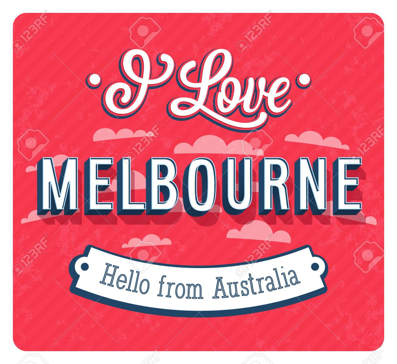 Vintage Greeting Card From Melbourne Australia Vector