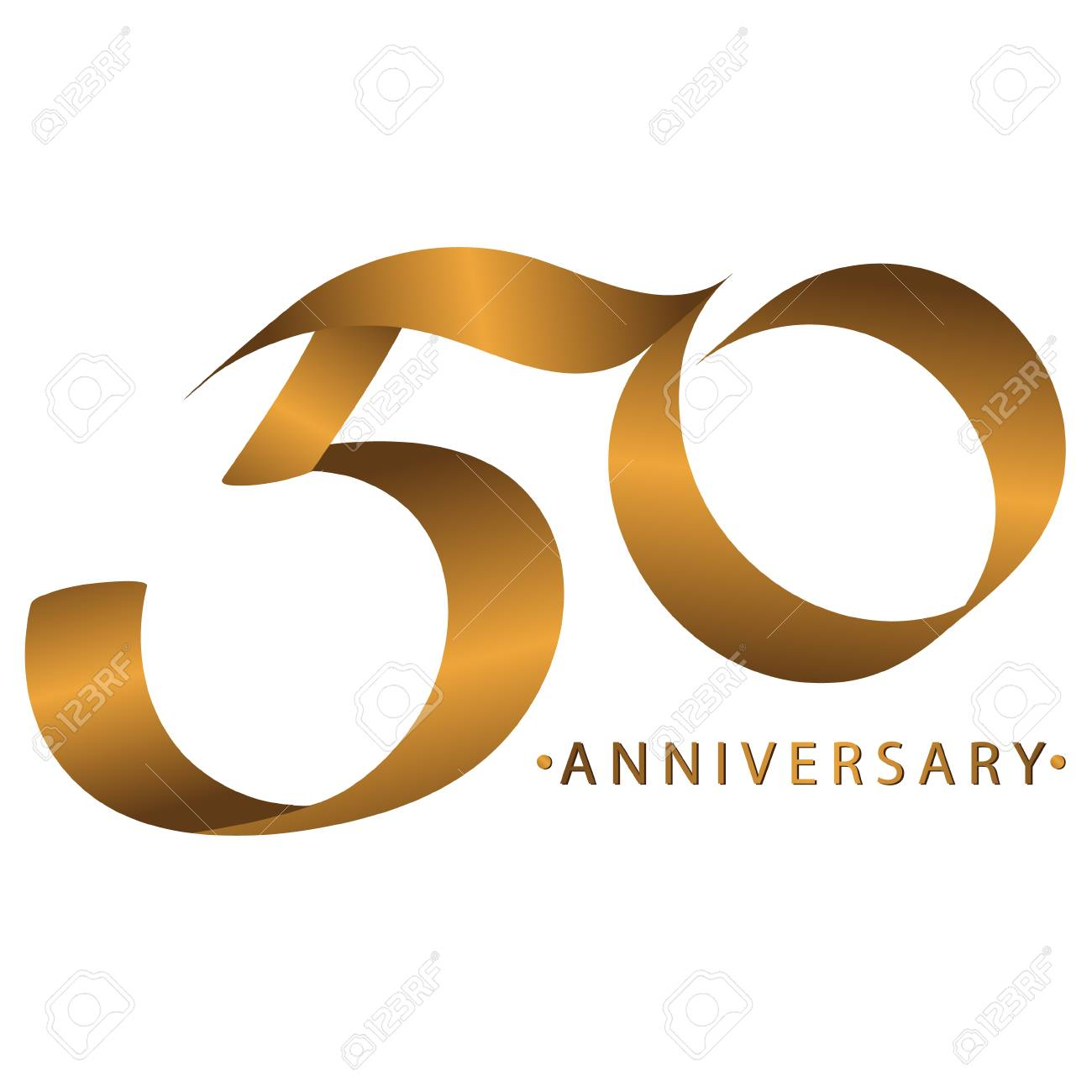 Celebración De La Caligrafía Aniversario Del Aniversario Del Número 50 Años Tono Dorado De Lujo Marrón Dorado Para Invitar A La Tarjeta Telón De