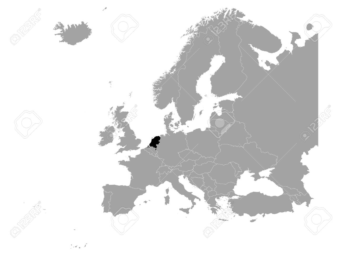 vector illustration of Black map of Netherlands - 141881942