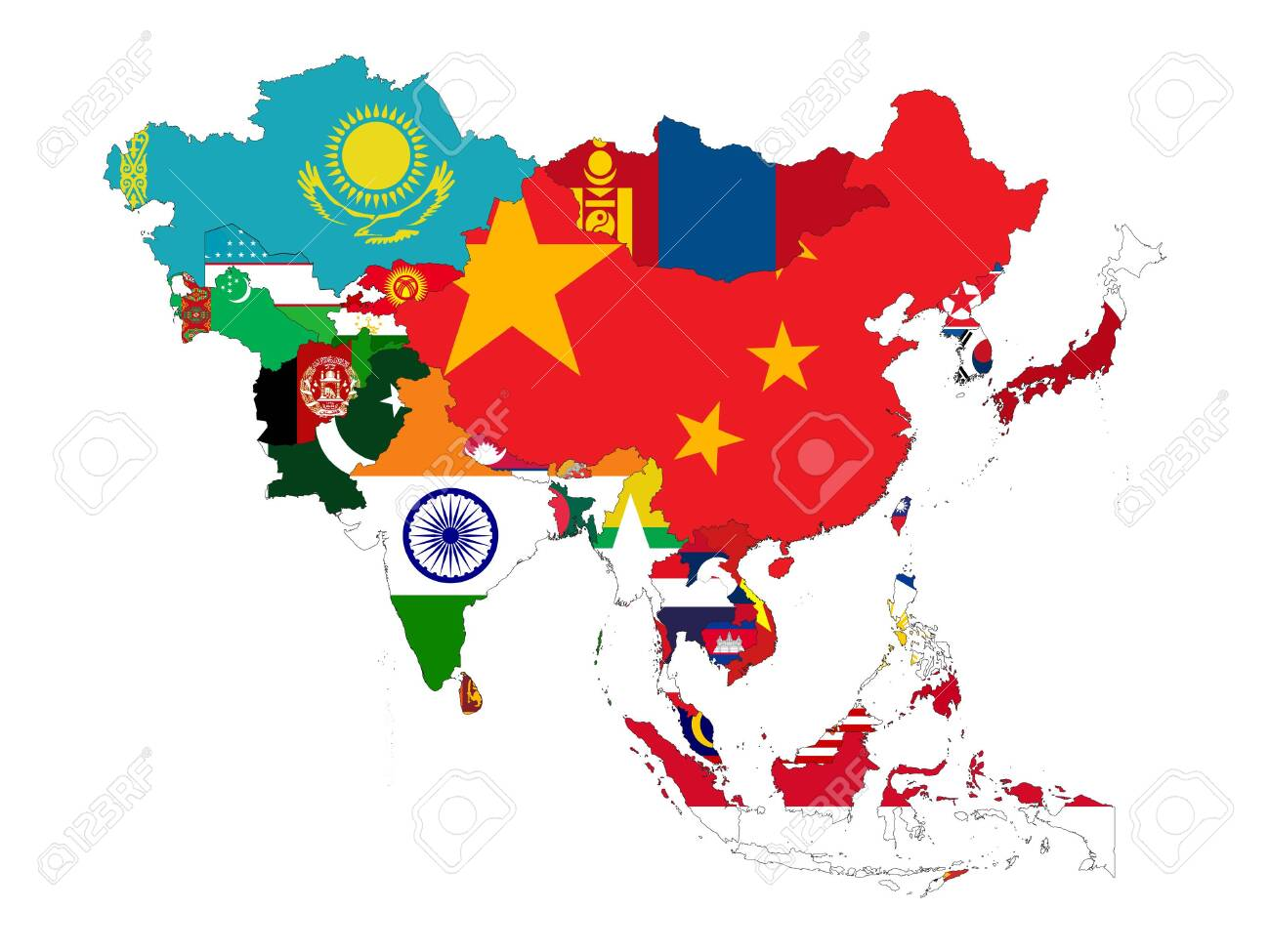 vector illustration of Map of Asia countries with national flag - 151702715