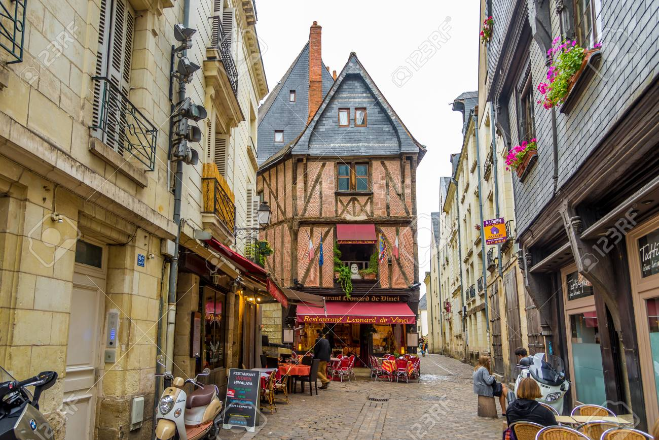 TOURS, FRANCE   AUGUST 21,21   Place Plumereau in Tours. The..