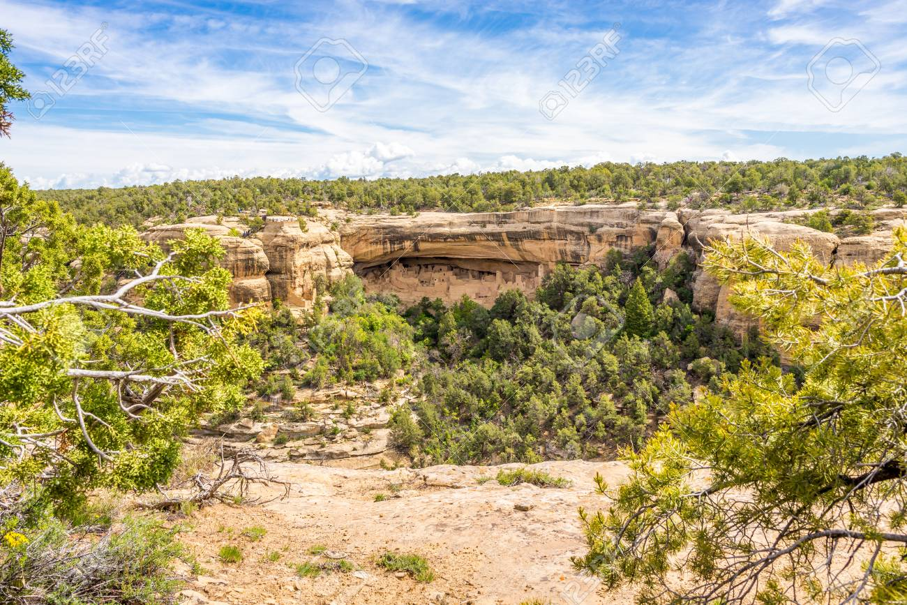 MESA VERDE, COLORADO - MAY 27.2015 - View from Sun Point at the Cliff Palace in Mesa Verde.Cliff Palace is located in the largest alcove in the center of the Great Mesa. - 113515526