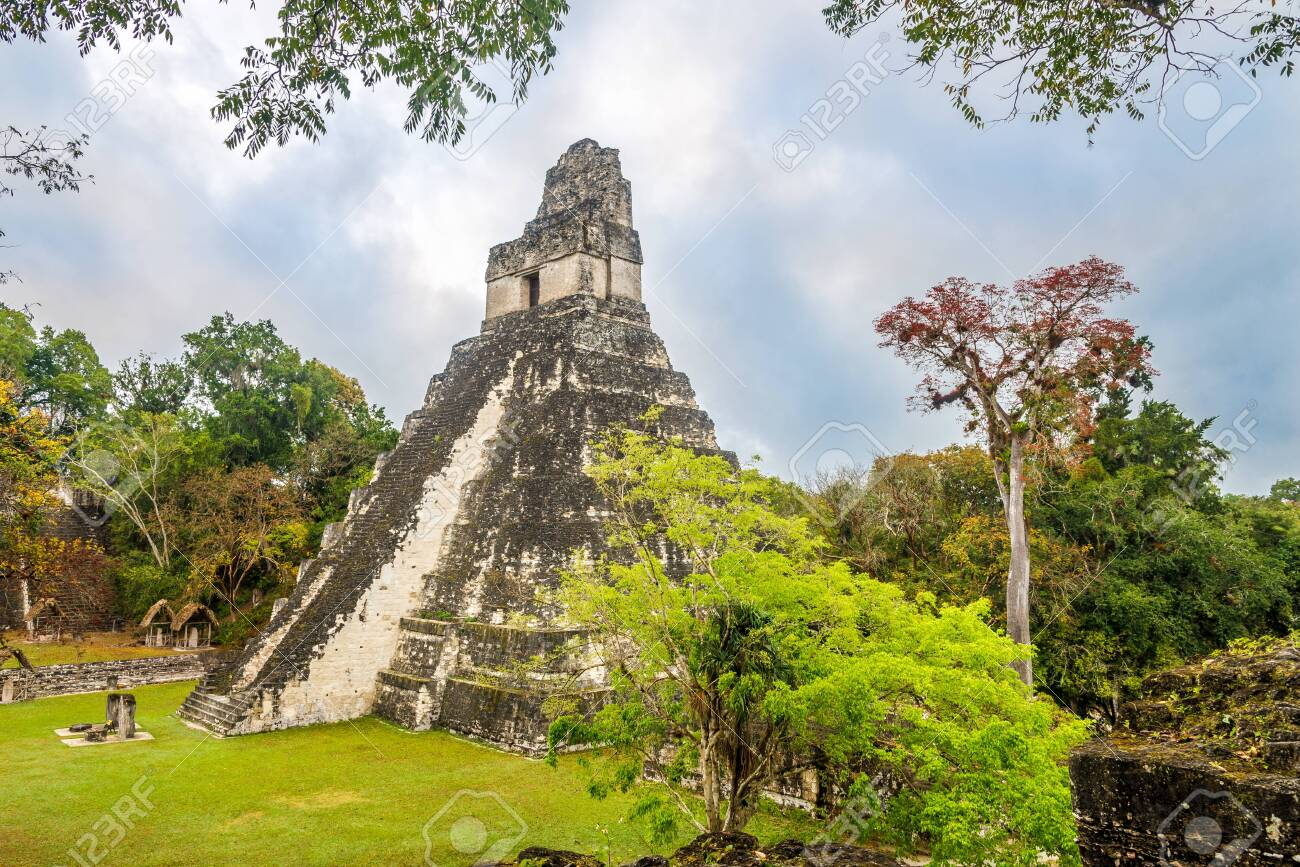 View at the Temple I from Central Acropolis in Tikal National Park, Guatemala - 121799943
