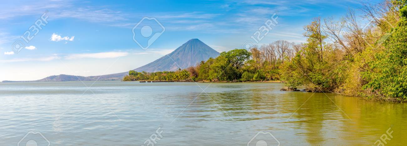 Panoramic view at the Conception Volcano with Nicaragua lake at the Ometepe Island in Nicaragua - 126596804