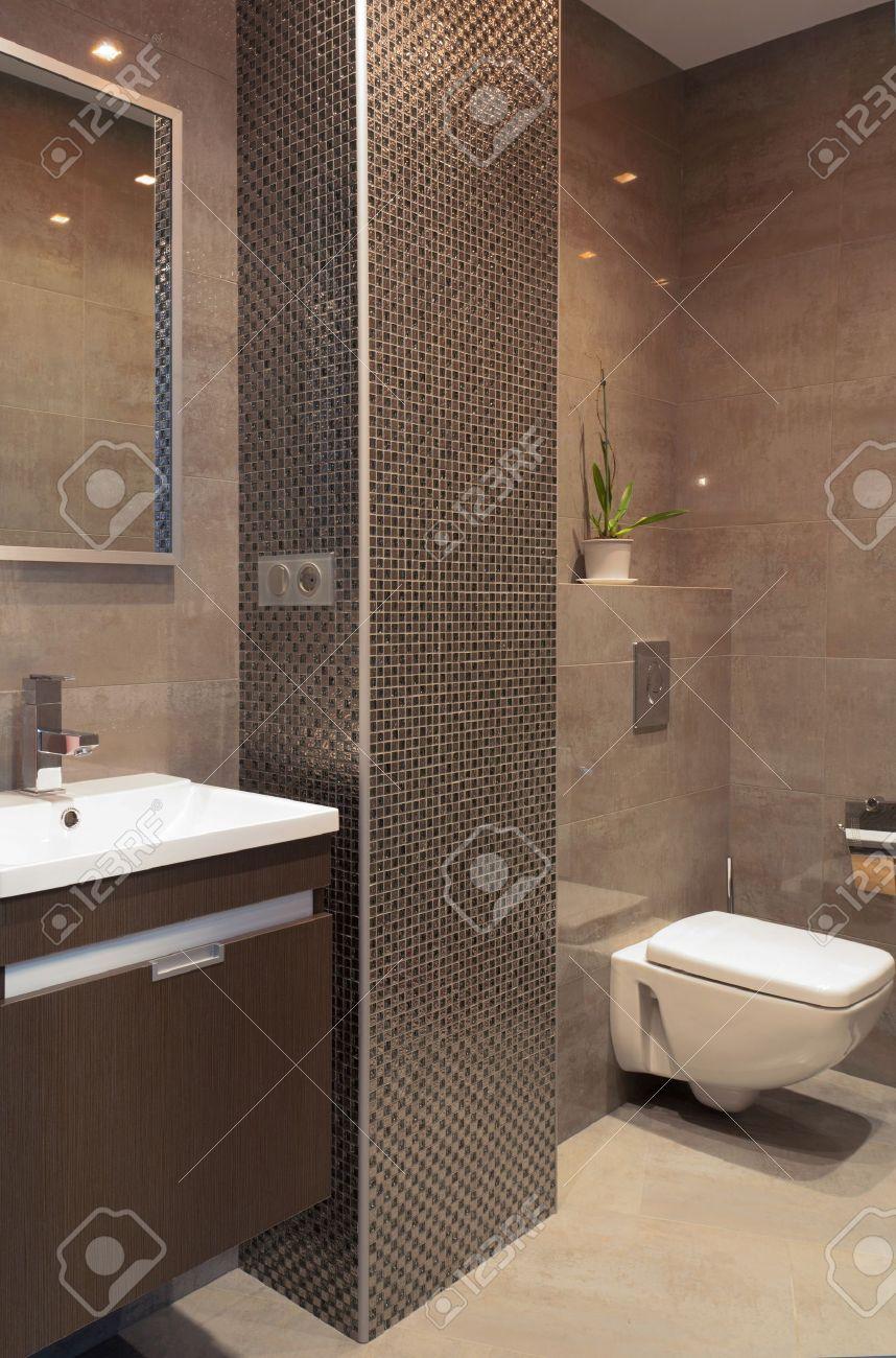 bagno moderno con una colonna di mosaico foto royalty free ... - Bagni Con Mosaico Moderni