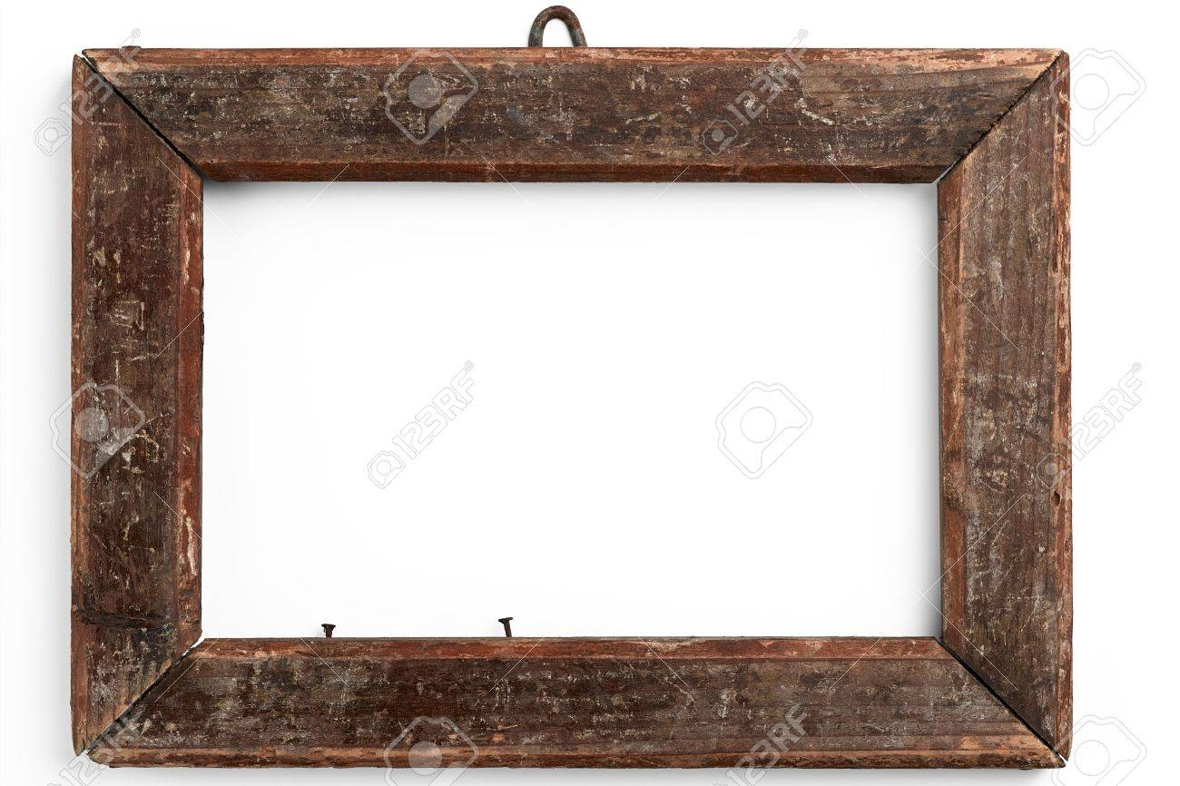 Old Wooden Frame On White Stock Photo, Picture And Royalty Free ...