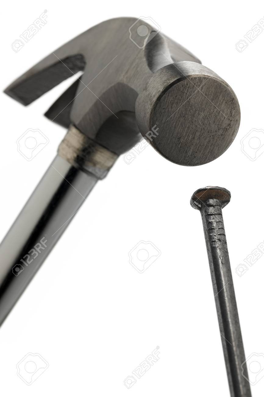 Claw Hammer Hitting A Nail On The Head - Bottom View Stock Photo ...