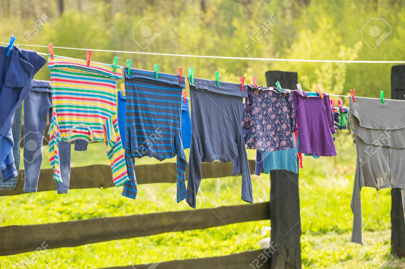 Washing Line With Drying Clothes In Outdoor Clothes Hanging Stock Photo Picture And Royalty Free Image Image 100471590
