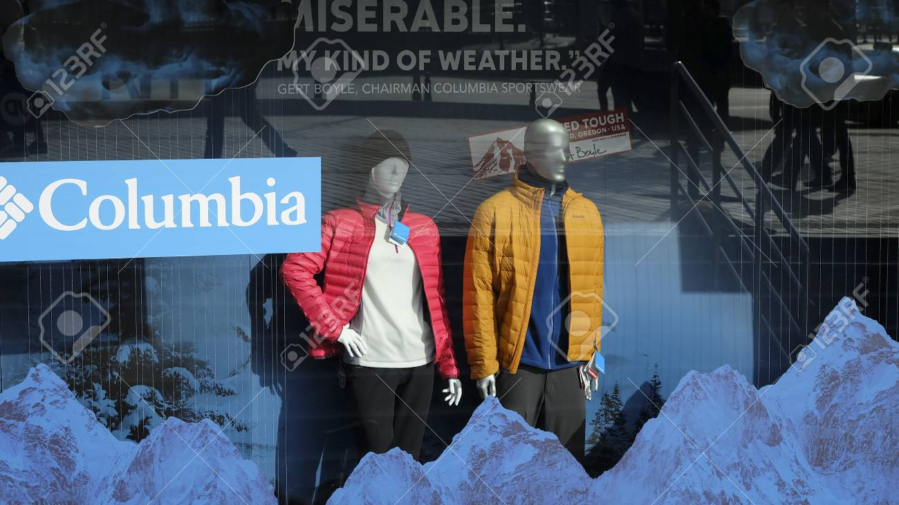 Istanbul, Turkey - February 26, 2017: Columbia Sportswear Company store at  Istanbul in a street  There are winter clothes at the display window