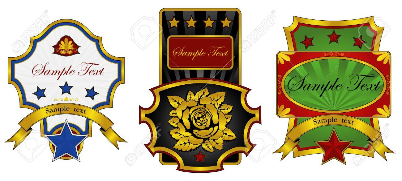 three labels decorated with gold Stock Vector - 7548717