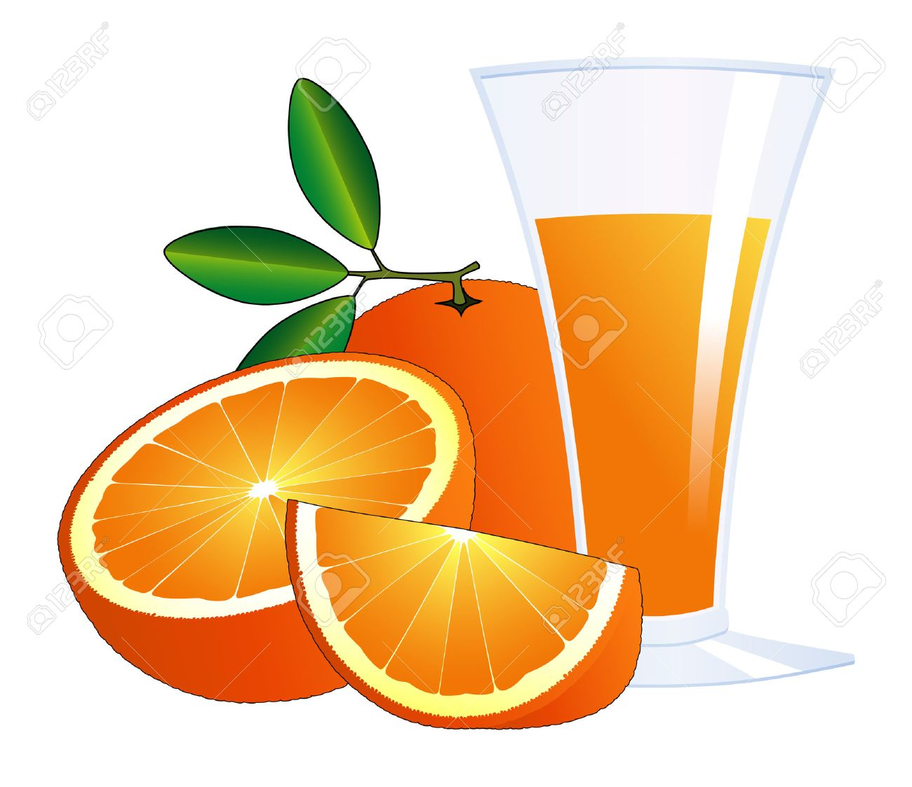 Orange Juice Glass Clipart Oranges And a Glass of Juice