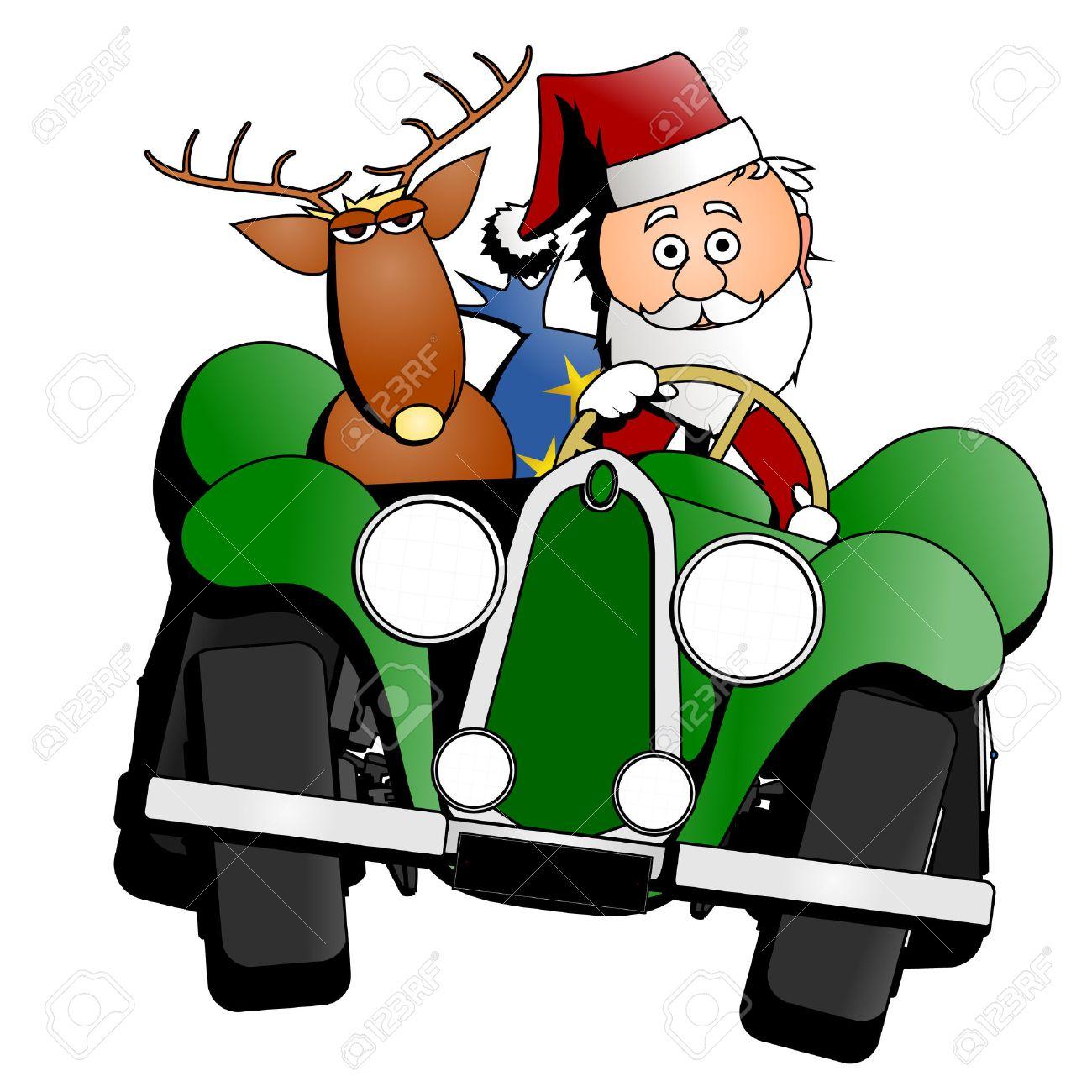 Santa Christmas car Stock Vector - 8261062
