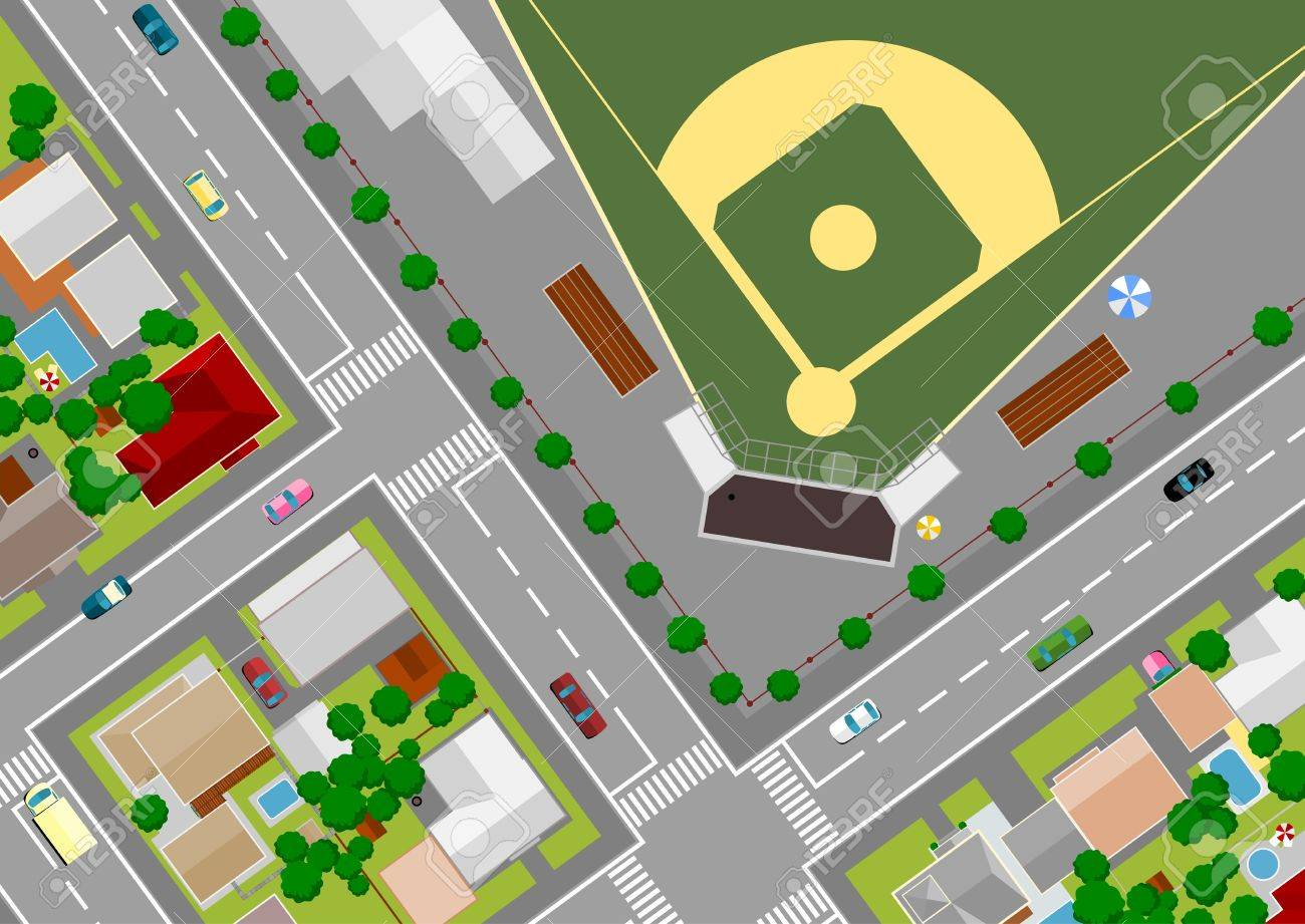 baseball field on the outskirts of Stock Vector - 10664318