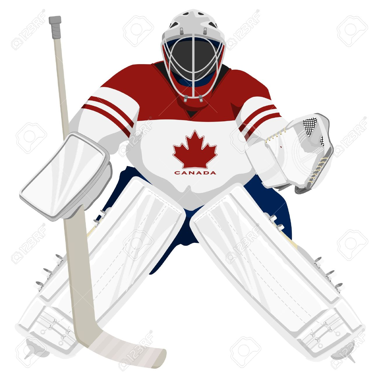 team canada hockey goalie royalty free cliparts vectors and stock rh 123rf com hockey goalie clipart hockey goalie helmet clipart