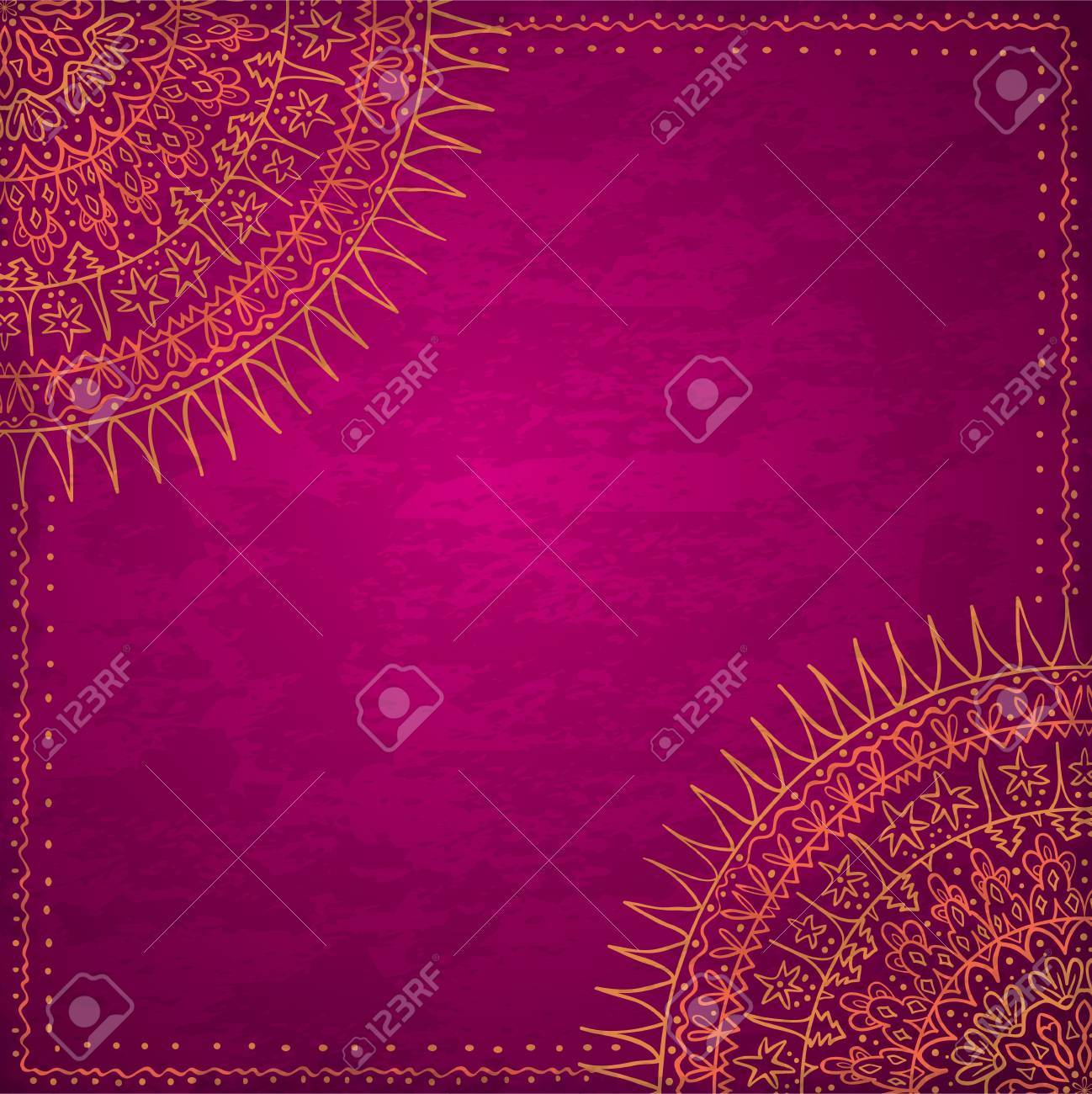 Ornamental round lace pattern, circle background with many details, looks like crocheting handmade lace on grunge background, lacy arabesque designs  Vintage card template Stock Vector - 19959716