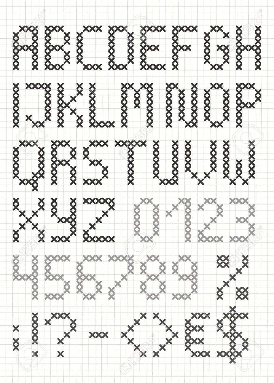 Cross Stitch English Alphabet With Numbers And Symbols Upper