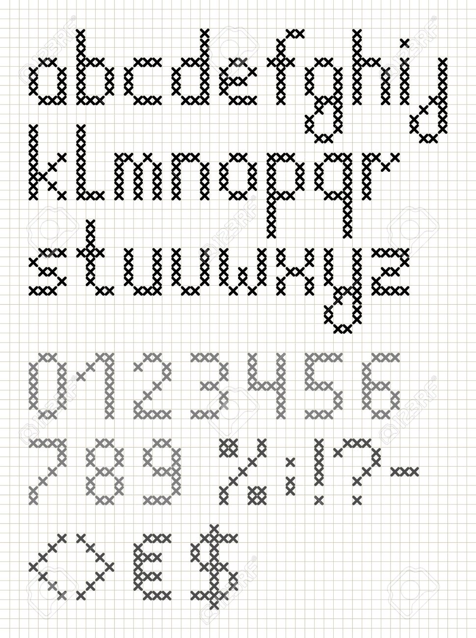 Cross Stitch English Alphabet With Numbers And Symbols Lower