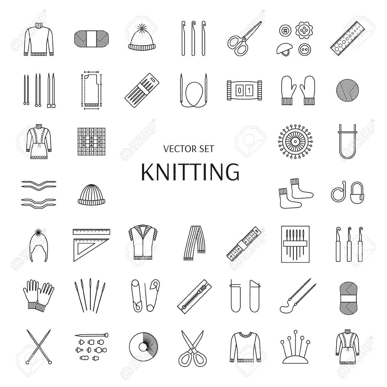 Knitting Linie Symbole Gesetzt. Knitting Verbrauchsmaterial Und ...