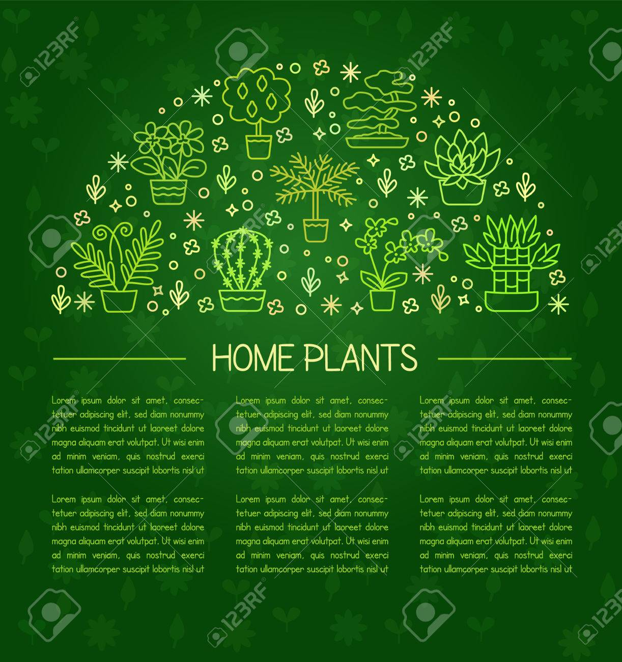 House Plants Concept For Garden Center, Flower U0026 Florist Shop. Vector  Rounded Illustration From