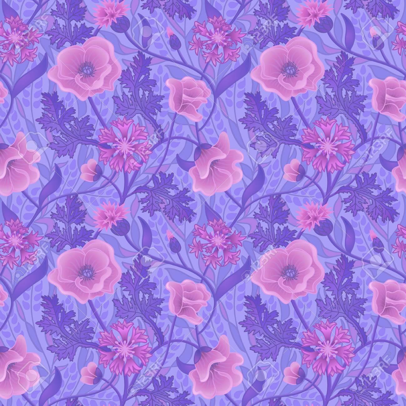 Papier Peint Naturel Avec Des Fleurs Roses Et Des Feuilles Violettes