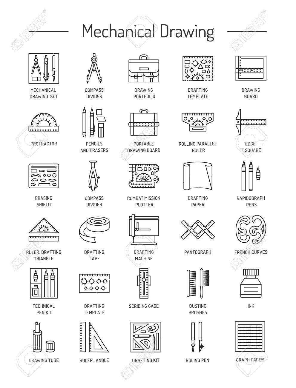 Drafting Tools Icon Collection. Technical Drawing. Line Icons ...