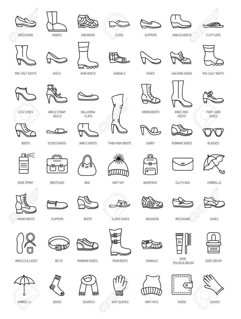 Men s and women s shoes   accessories. Vector line icon set. Various styles  of footwear 88488d4a215d