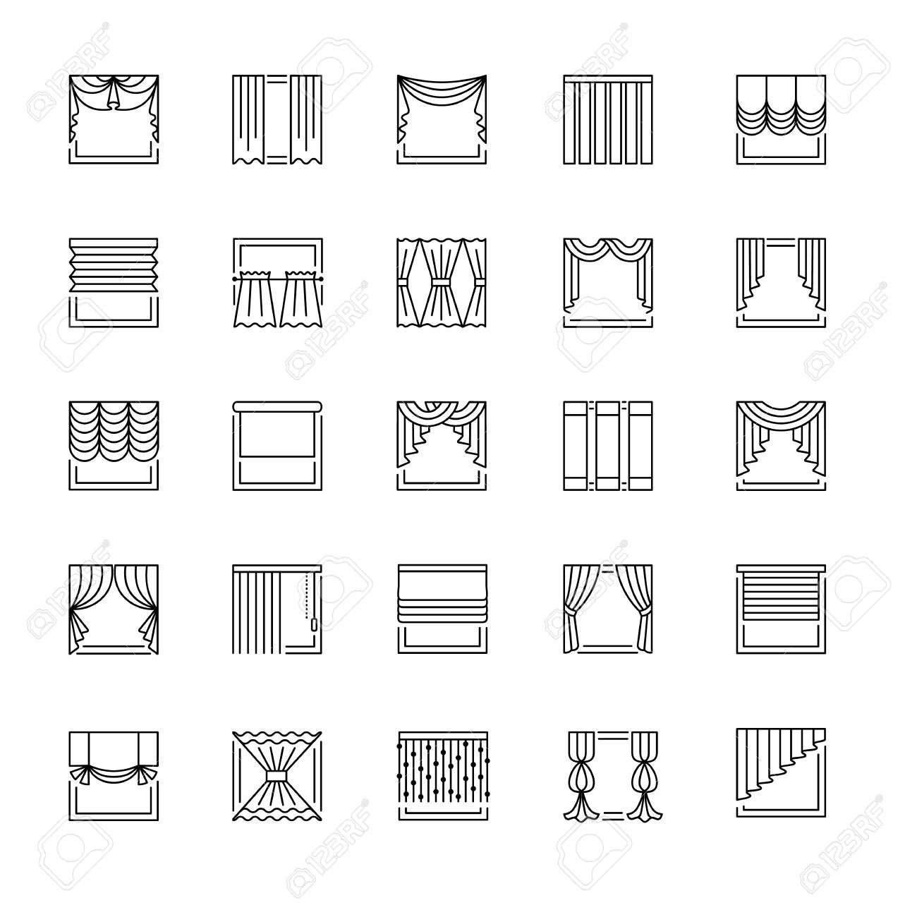 Vector Line Icons With Drapes. Window Covering. Different Styles ... for Roller Pleat Curtains  67qdu